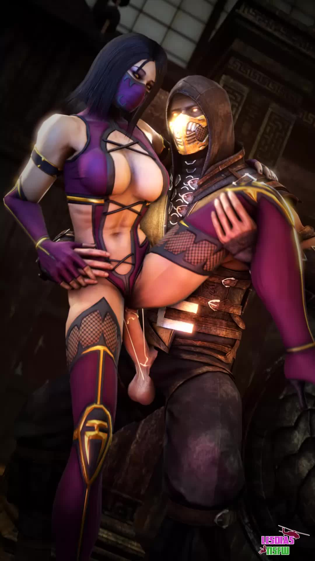 Animated Lesdias Mileena Mortal_Kombat Mortal_Kombat_X Scorpion Source_Filmmaker // 1080x1920 // 4.3MB // webm