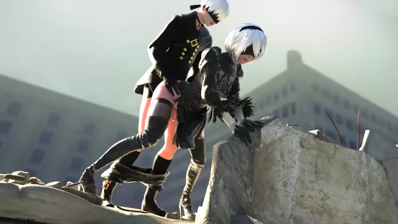 3D Android_2B Android_9S Animated Blender Nier_Automata Sound cafe-anteiku cakeofcakes // 1280x720 // 4.5MB // webm