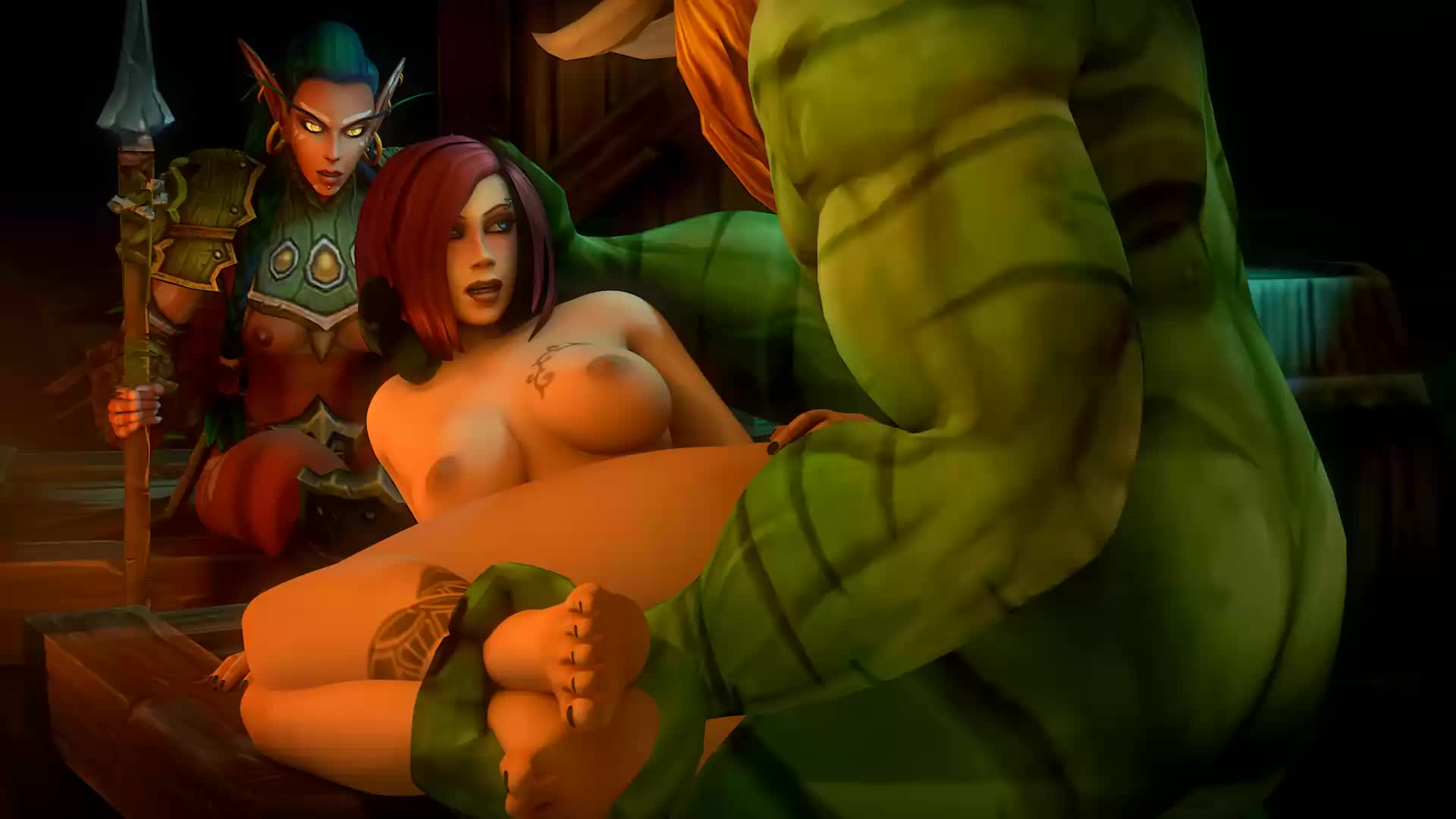 3D Animated Blood_Elf Human_(World_of_Warcraft) Rexxcraft Troll World_of_Warcraft // 1920x1080 // 1.5MB // webm