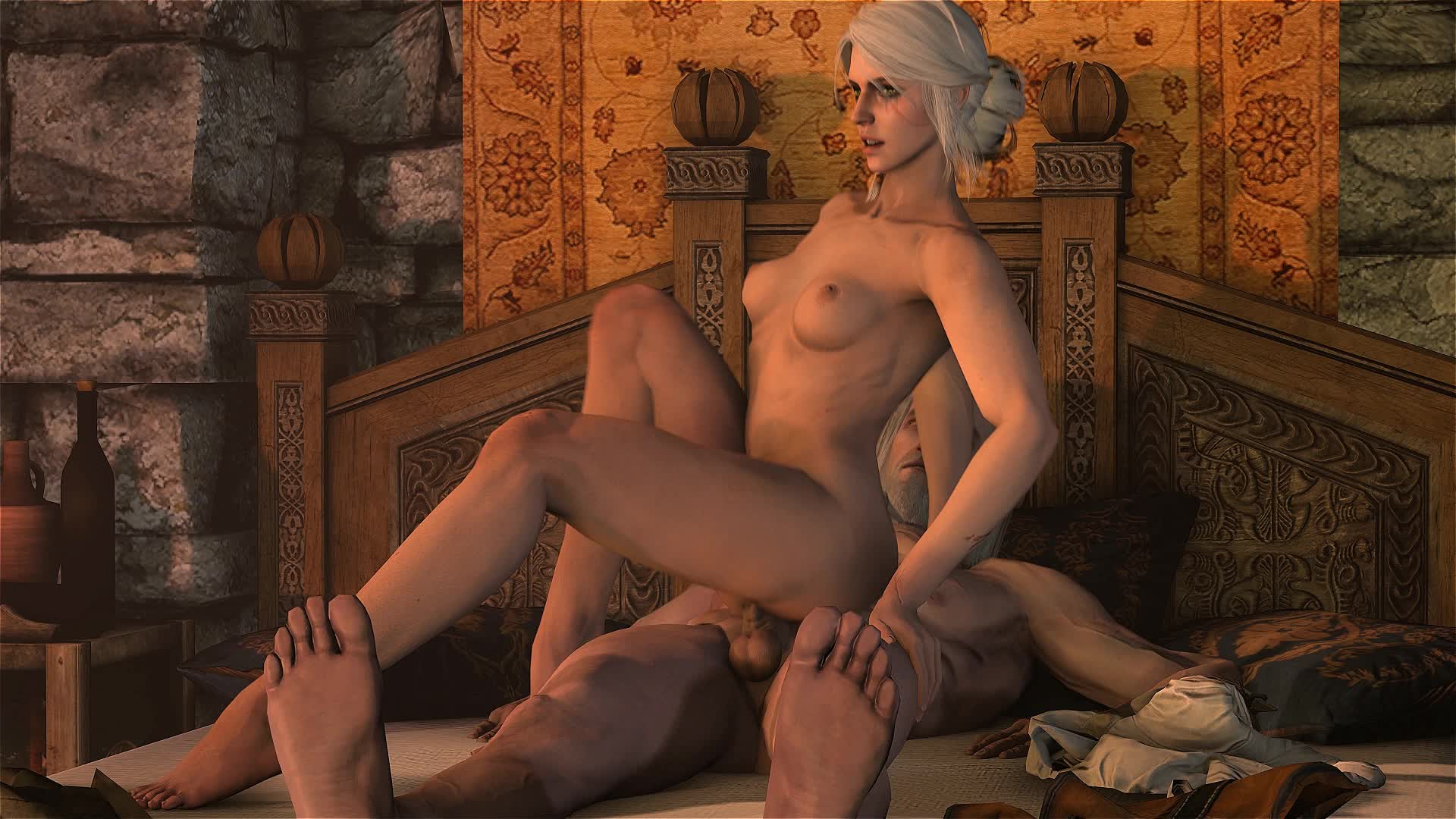 3D Animated Ciri Geralt_of_Rivia Hunt Sound The_Witcher The_Witcher_3:_Wild santalolno // 1x1 // 6.3MB // webm